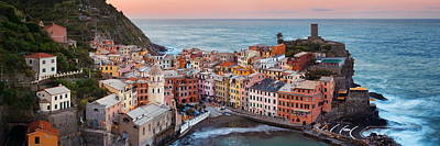 Photograph - Vernazza Buildings And Sea In Cinque Terre Panorama by Songquan Deng