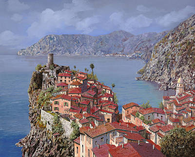 Curated Round Beach Towels - Vernazza-Cinque Terre by Guido Borelli
