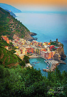 Sunset Landscape Wall Art - Photograph - Vernazza From Above by Inge Johnsson