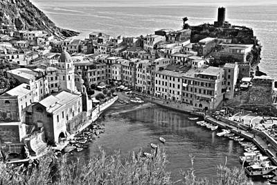 Photograph - Vernazza Grayscale by Frozen in Time Fine Art Photography