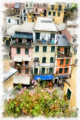 Tourism Digital Art - Vernazza Italy In The Cinque Terra by Edward Fielding