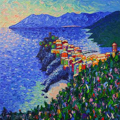 Painting - Vernazza Light Cinque Terre Italy Modern Impressionist Palette Knife Oil Painting Ana Maria Edulescu by Ana Maria Edulescu