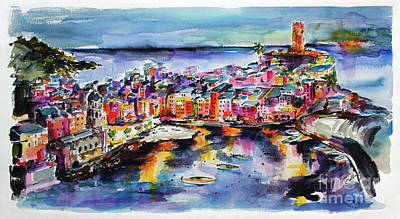 Painting - Vernazza Twilight Cinque Terre Watercolors by Ginette Callaway