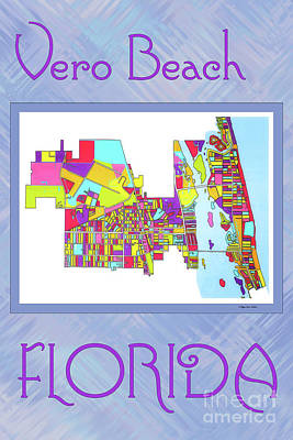 Vero Digital Art - Vero Beach Map1 by Megan Dirsa-DuBois