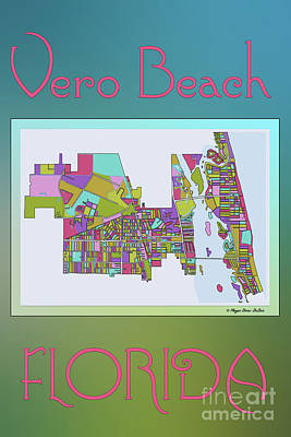 Vero Digital Art - Vero Beach Map2 by Megan Dirsa-DuBois