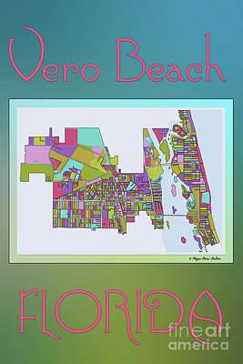 Digital Art - Vero Beach Map2 by Megan Dirsa-DuBois