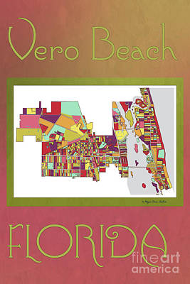Vero Digital Art - Vero Beach Map3 by Megan Dirsa-DuBois
