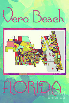 Vero Digital Art - Vero Beach Map4 by Megan Dirsa-DuBois