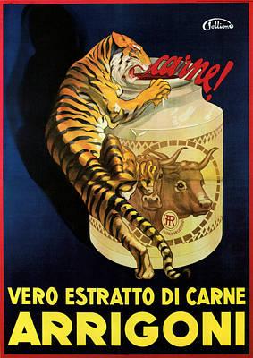 Mixed Media - Vero Estratto Di Carne Arrigoni - Vintage Advertising Poster by Studio Grafiikka