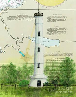 Oneida Painting - Verona Beach Lighthouse Ny Nautical Chart Map Cathy Peek by Cathy Peek