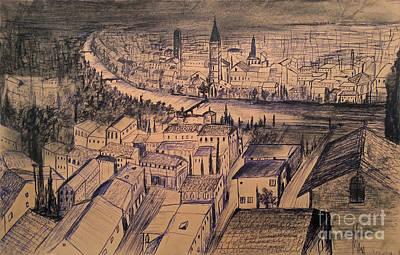 Church Pillars Drawing - Verona Birdview Drawing by Maja Sokolowska