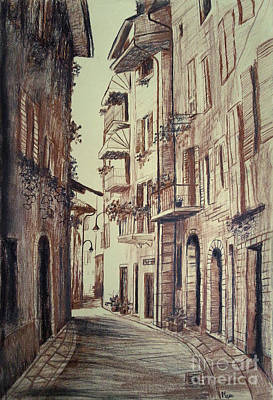 Drawing - Verona Drawing Of A Narrow Street by Maja Sokolowska