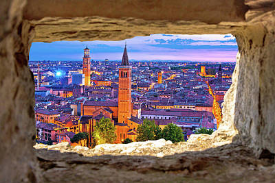 Photograph - Verona Historic Skyline Evening View Through Stone Window by Brch Photography
