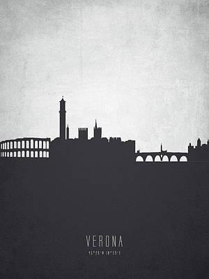 European City Digital Art - Verona Italy Cityscape 19 by Aged Pixel