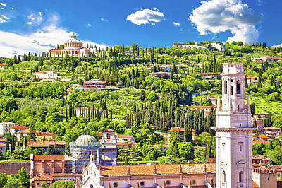 Photograph - Verona Rooftops And Madonna Di Lourdes Sanctuary View by Brch Photography