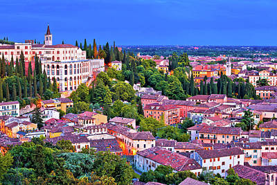 Photograph - Verona Rooftops And Opera Don Calabria Evening View by Brch Photography