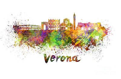 Verona Painting - Verona Skyline In Watercolor by Pablo Romero