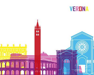 Verona Painting - Verona Skyline Pop by Pablo Romero
