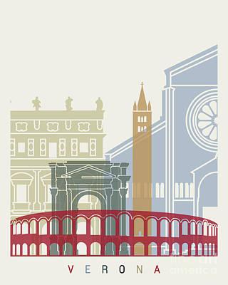 Verona Painting - Verona Skyline Poster by Pablo Romero