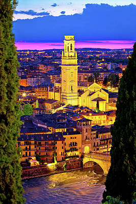 Photograph - Verona Towers And Rooftops Evening Vertical View by Brch Photography