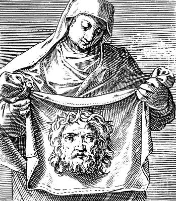 Worship Drawing - Veronica Holding The Sudarium, 1581 by Agostino Carracci
