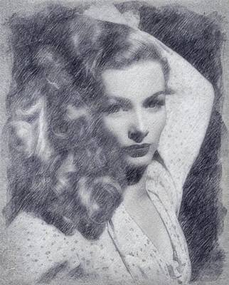 Musicians Drawings Rights Managed Images - Veronica Lake Royalty-Free Image by John Springfield