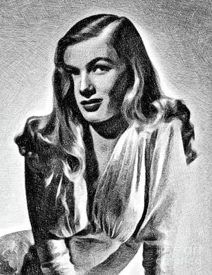 Musicians Drawings Rights Managed Images - Veronica Lake, Vintage Actress by JS Royalty-Free Image by John Springfield