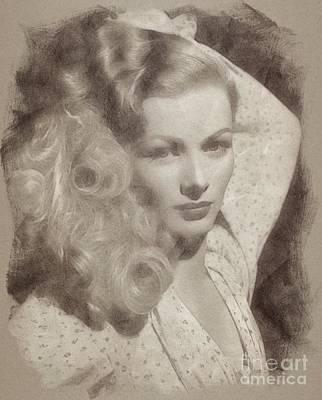 Fantasy Drawings - Veronica Lake Vintage Hollywood Actress by John Springfield