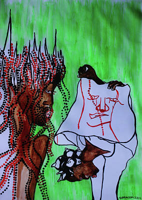 Painting - Veronica Wipes The Face Of Jesus by Gloria Ssali