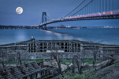Photograph - Verrazano Narrows Bridge Full Moon by Susan Candelario