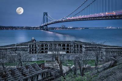 Art Print featuring the photograph Verrazano Narrows Bridge Full Moon by Susan Candelario