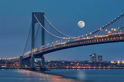Art Print featuring the photograph Verrazano Narrows Bridge Moon by Susan Candelario