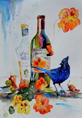 Bluejay Painting - Still Life With Steller's Jay by Beverley Harper Tinsley