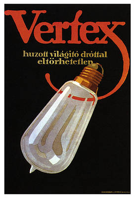 Mixed Media - Vertex - Huzott Vilagito Drottal Eltorhetetlen - Vintage German Bulb Advertising Poster by Studio Grafiikka