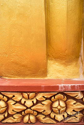 Photograph - Vertical Abstract View Of Golden Section Of Buddhist Pagoda With Gold Floral Trim Below by Jason Rosette