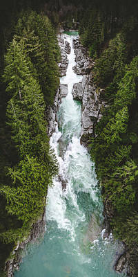 Photograph - Vertical Panorama Aerial View Of Canyon Falls Waterfall by Open Range