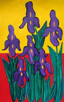 Painting - Vertical Purple Irises by Matthew Brzostoski