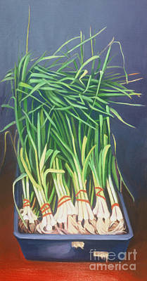Vertical Scallions Art Print by Natasha Harsh