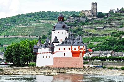 Vertical Vineyards And Buildings On The Rhine Art Print