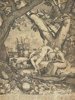 Nude Drawing - Vertumnus And Pomona, 1605  by Pieter Jansz Saenredam