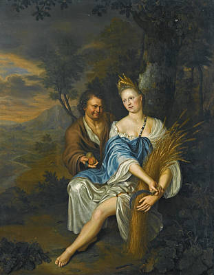 Painting - Vertumnus And Pomona by Frans van Mieris the Younger