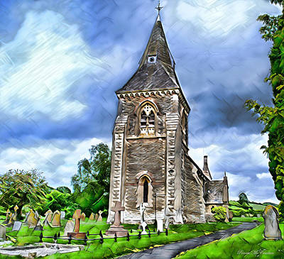 Digital Art - Very Old Church by Pennie  McCracken