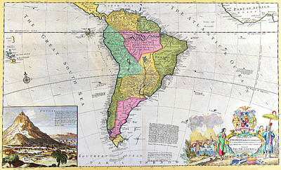 Painting - Very Old Map Of South America by R Muirhead Art