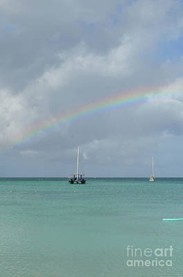 Photograph - Very Pretty Rainbow With A Catamaran Anchored by DejaVu Designs