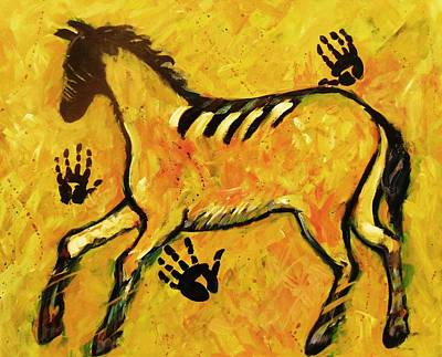 Very Primitive Wild Horse Painting Art Print
