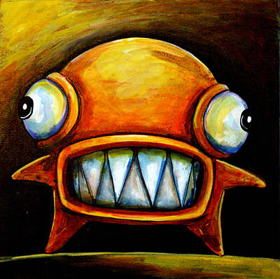 Big Teeth Painting - Very Scarey Glob by Leanne Wilkes