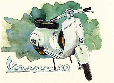 Scooter Painting - Vespa 50 by Yoshiharu Miyakawa
