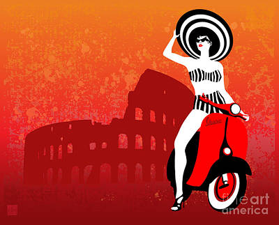 Fashion Illustration Wall Art - Painting - Vespa Girl by Sassan Filsoof