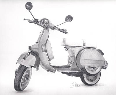 Drawing - Vespa by Karen Townsend