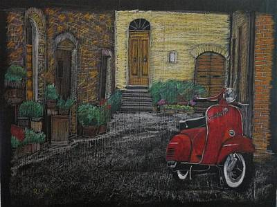 Pastel - Vespa In The Rain by Richard Le Page